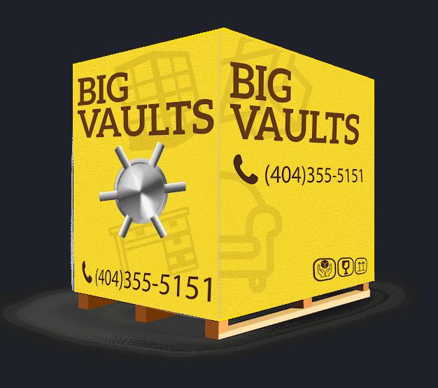big vaults portable storage 3d logo, vault with graphic wrap, atlanta storage company3